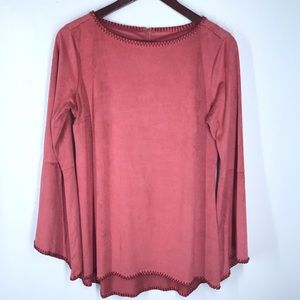 Soft Surroundings Faux Suede Tunic Bell Sleeves XS